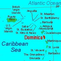 Dominica lies in the East Caribbean, between the French islands of Guadeloupe and Martinique
